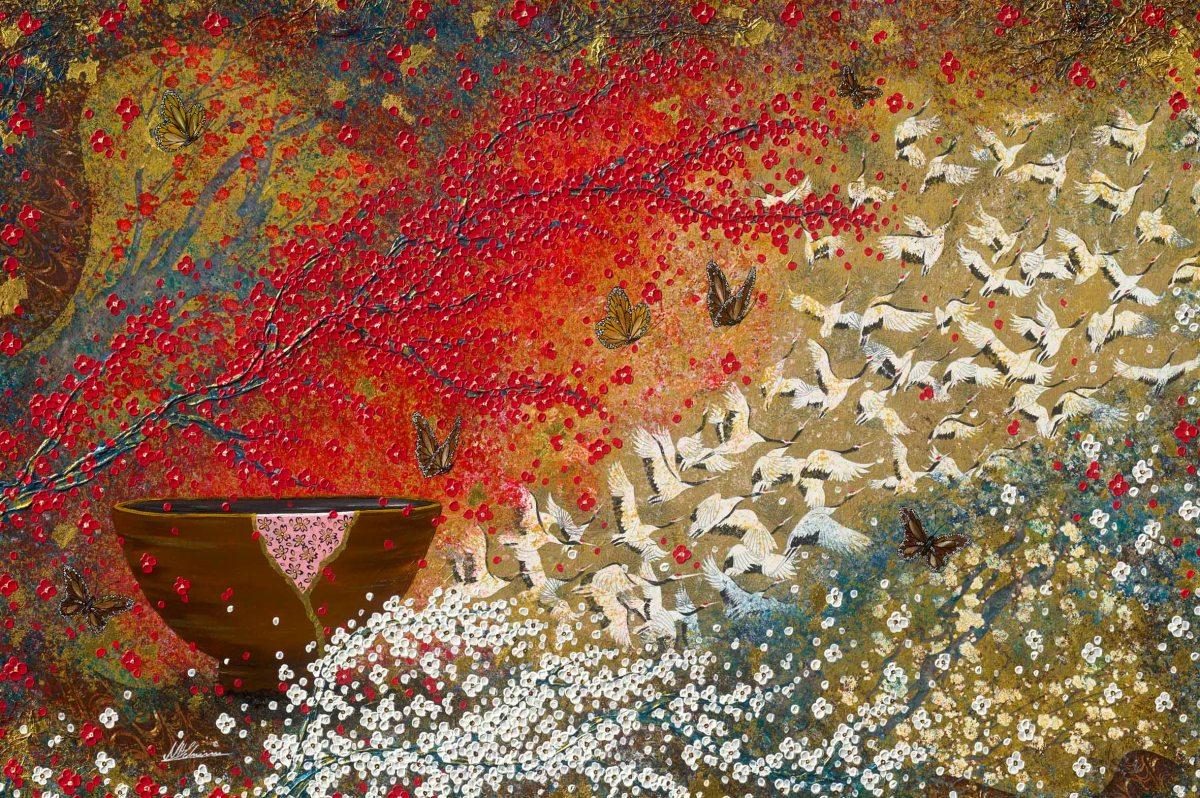 Japan Schüssel Kraniche Nadia Schreiner Painting Journeys