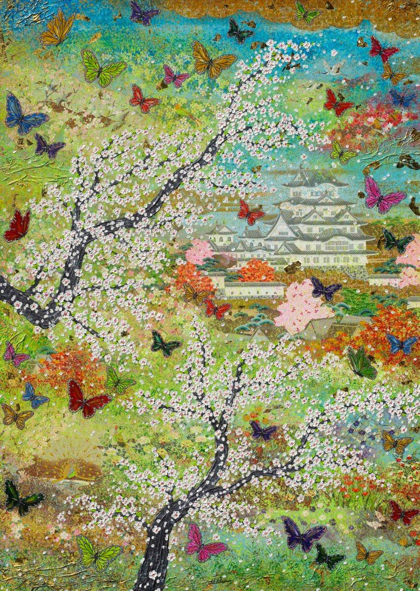 Japan Schmetterlinge Nadia Schreiner Painting Journeys Schloss grün rosa butterfly japan cherry blossom art acrylic canvas