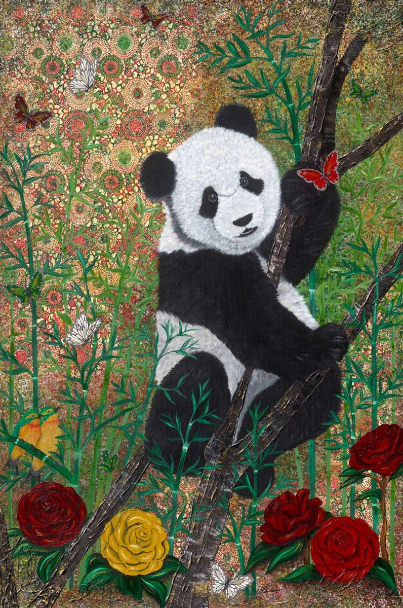 Panda Bär bear yuan yuan Nadia Schreiner Painting Journeys Kunst Bild Acryl acrylic canvas art Bambus bamboo butterfly schmetterlinge